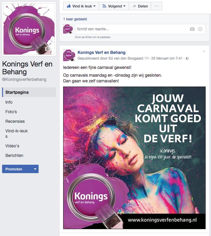 Facebook campagne | Konings Verf en Behang