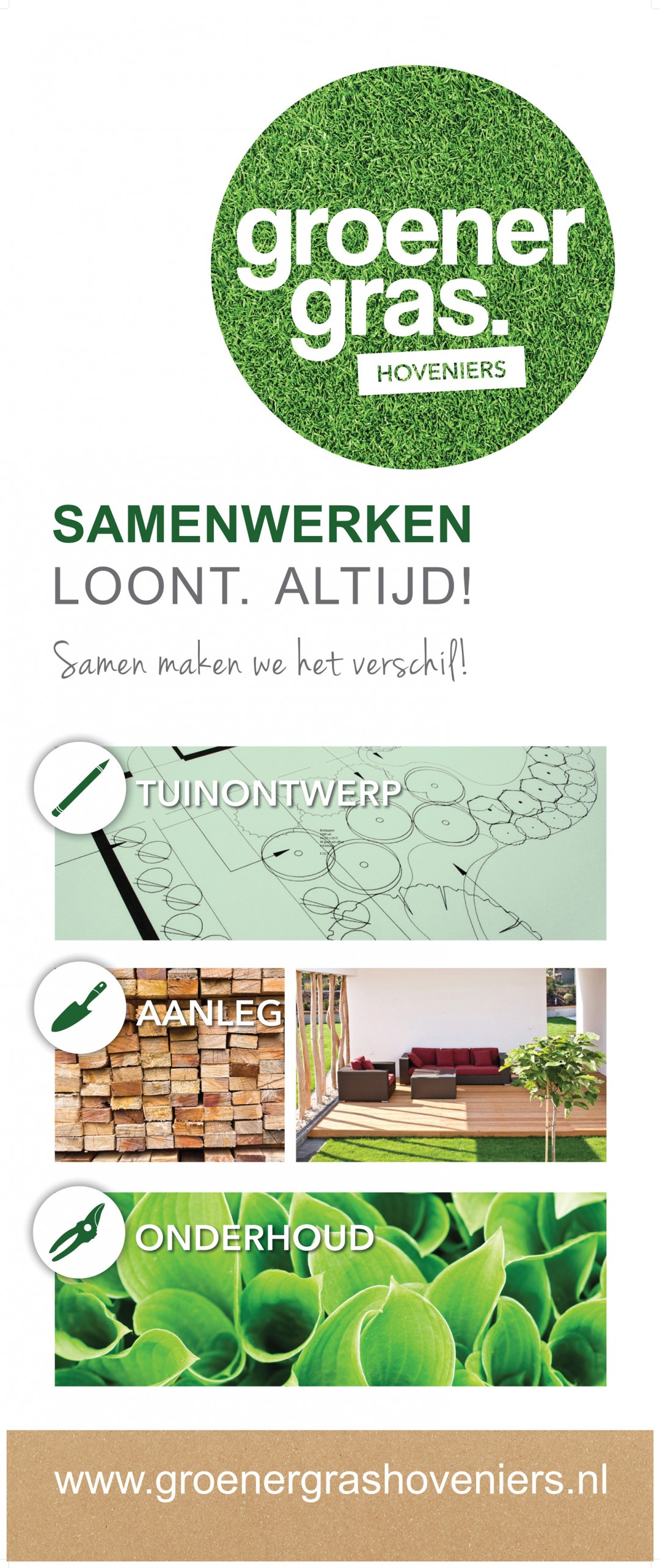 Roll up banner |                                  Groener Gras Hoveniers