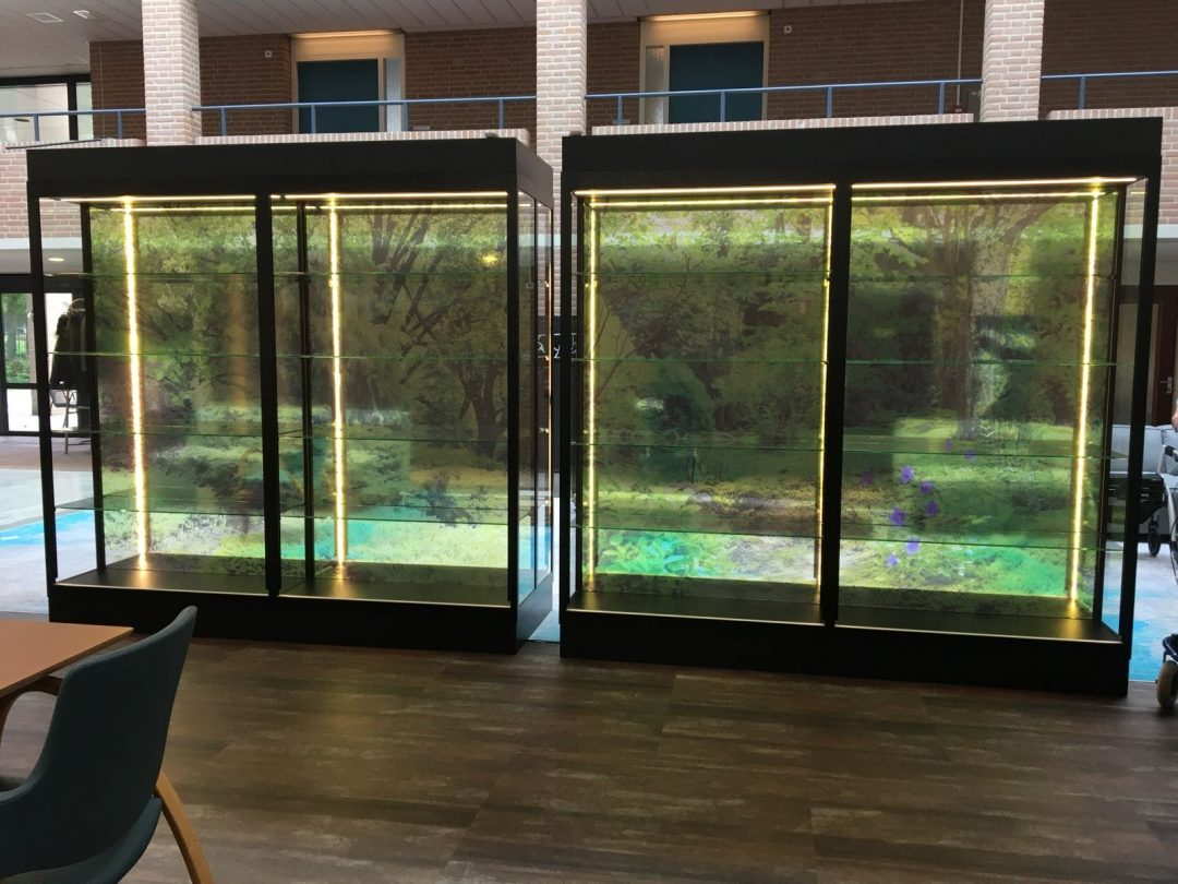 Glazen kast met transparante visual